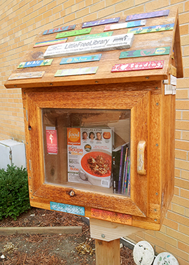 A Little Free Library® outside of a school in Greendale, Wis.