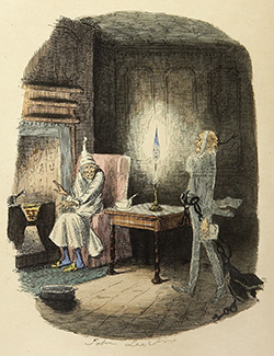 Scrooge and Marley's ghost (John Leech, 1843)